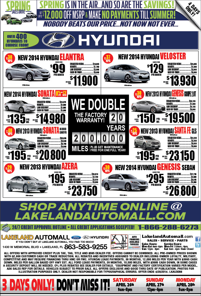 New Lakeland Auotmall Ford & Hyundai Specials 4-25-201 through ...