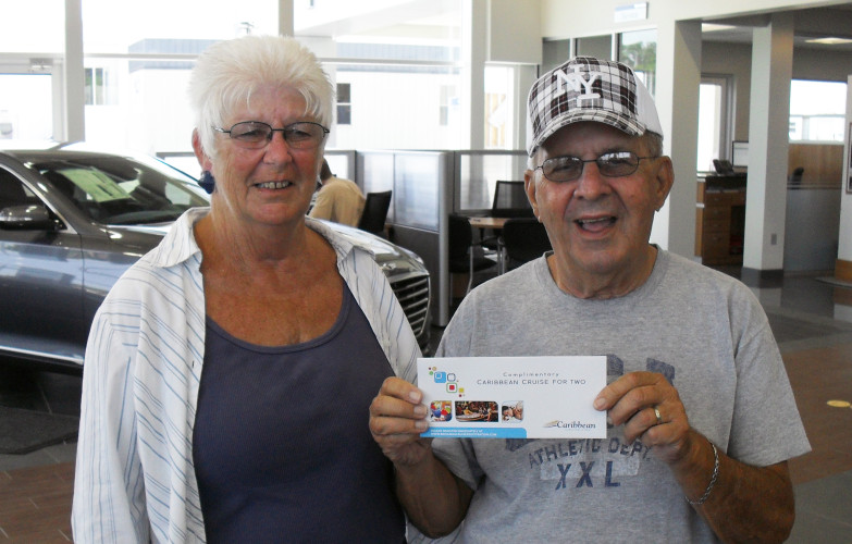Richard and Mary Porter win a Carribean Crusie at Lakeland Automall Ford & Hyundai