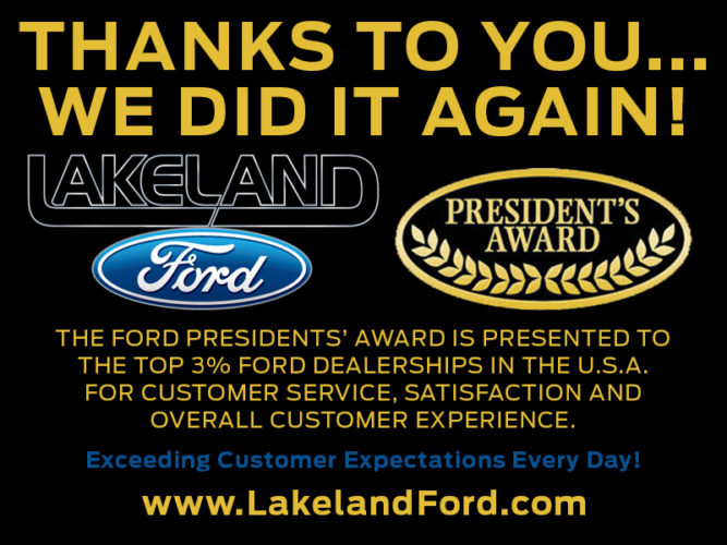 Lakeland Ford President's Award Winner for Third Time in a Row