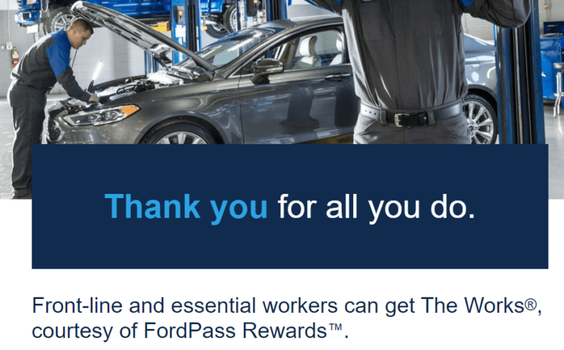 Free 'The Works' Oil Change For All Front Line & Essential Workers From Lakeland Ford (Works For Non Ford Vehicles As Well)